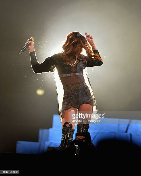 Recording artist Rihanna performs in concert at Staples Center on April 8 2013 in Los Angeles California