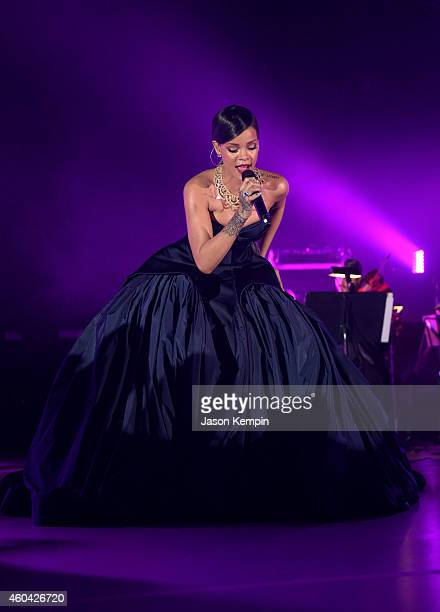 Recording artist Rihanna performs onstage at The Inaugural Diamond Ball presented by Rihanna and The Clara Lionel Foundation at The Vineyard on...