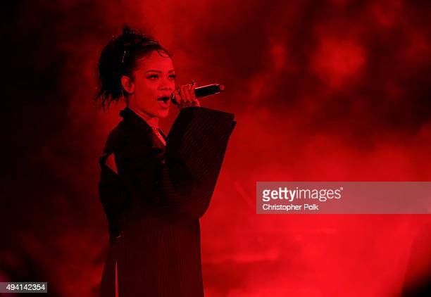 Recording artist Rihanna performs onstage during CBS RADIOs third annual We Can Survive presented by Chrysler at the Hollywood Bowl on October 24...
