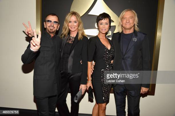Recording artist Ringo Starr actress Barbara Bach Marjorie Bach and musician Joe Walsh attend the 56th GRAMMY Awards at Staples Center on January 26...