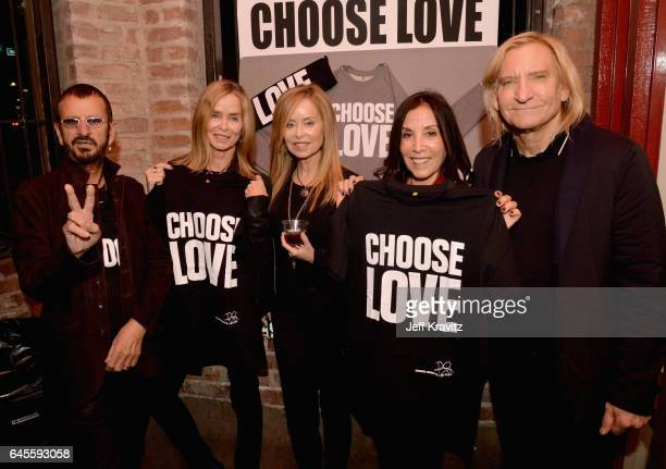 Recording artist Ringo Starr actress Barbara Bach Marjorie Bach author Olivia Harrison and singersongwriter Joe Walsh of The Eagles pose with 'Choose...