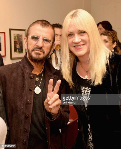 Recording artist Ringo Starr and Debbi Peterson of The Bangles attend the 'I ME MINE' George Harrison book launch at Subliminal Projects Gallery on...