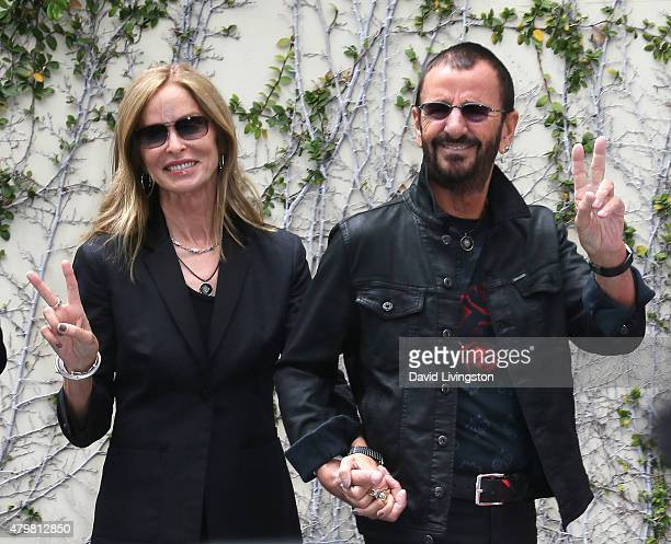 Recording artist Ringo Starr and wife Barbara Bach attend his 75th birthday fan gathering at Capitol Records on July 7 2015 in Hollywood California