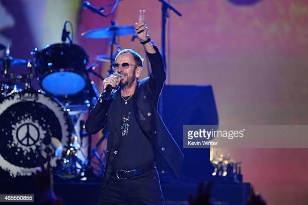 Recording artist Ringo Starr performs onstage during 'The Night That Changed America A GRAMMY Salute To The Beatles' at the Los Angeles Convention...