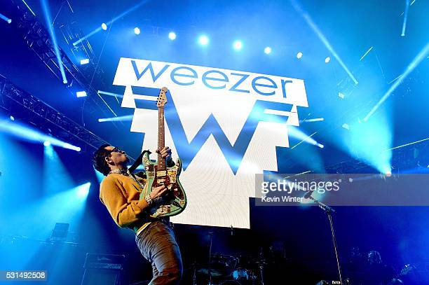 Recording artist Rivers Cuomo of music group Weezer performs onstage at KROQ Weenie Roast 2016 at Irvine Meadows Amphitheatre on May 14 2016 in...