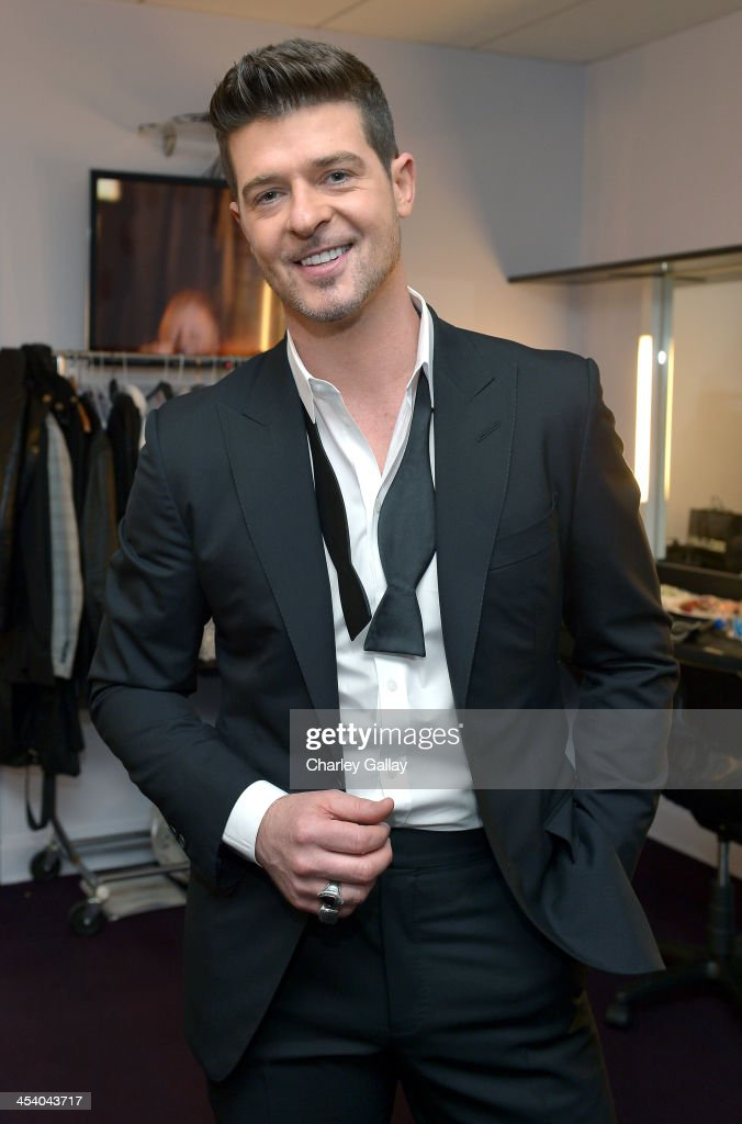 Recording artist Robin Thicke attends The GRAMMY Nominations Concert Live Countdown to Music's Biggest Night at Nokia Theatre LA Live on December 6...