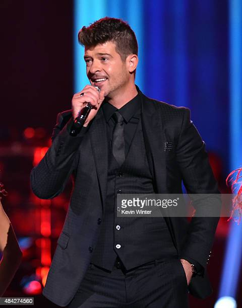 Recording artist Robin Thicke performs onstage during the Teen Choice Awards 2015 at the USC Galen Center on August 16 2015 in Los Angeles California