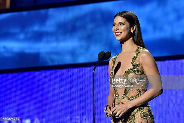 Recording artist Roselyn Sanchez speaks onstage during the 15th annual Latin GRAMMY Awards at the MGM Grand Garden Arena on November 20 2014 in Las...