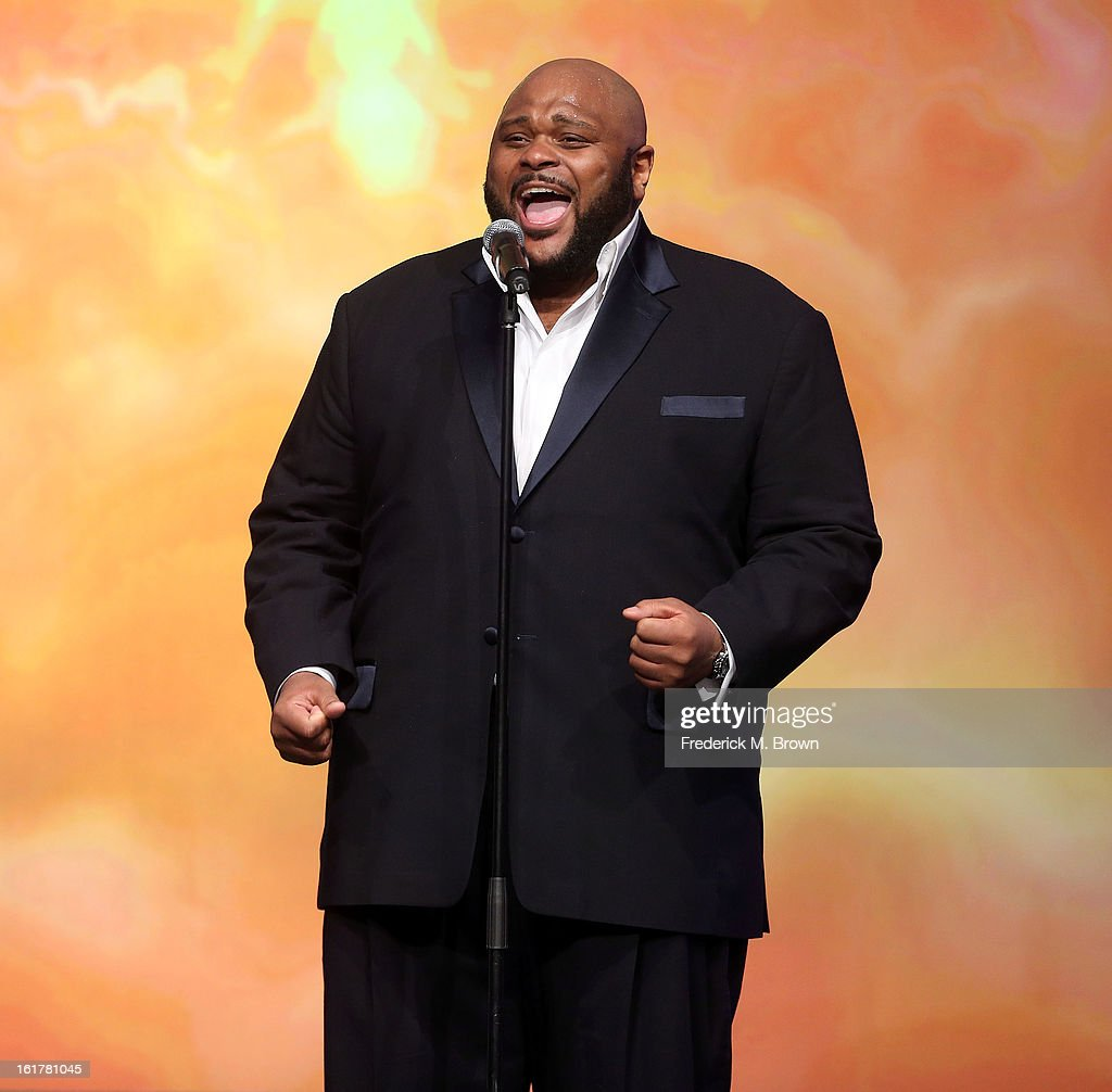 Recording artist <a gi-track='captionPersonalityLinkClicked' href=/galleries/search?phrase=Ruben+Studdard&family=editorial&specificpeople=204671 ng-click='$event.stopPropagation()'>Ruben Studdard</a> performs during the 21st Annual Movieguide Awards at the Universal Hilton Hotel on February 15, 2013 in Universal City, California.