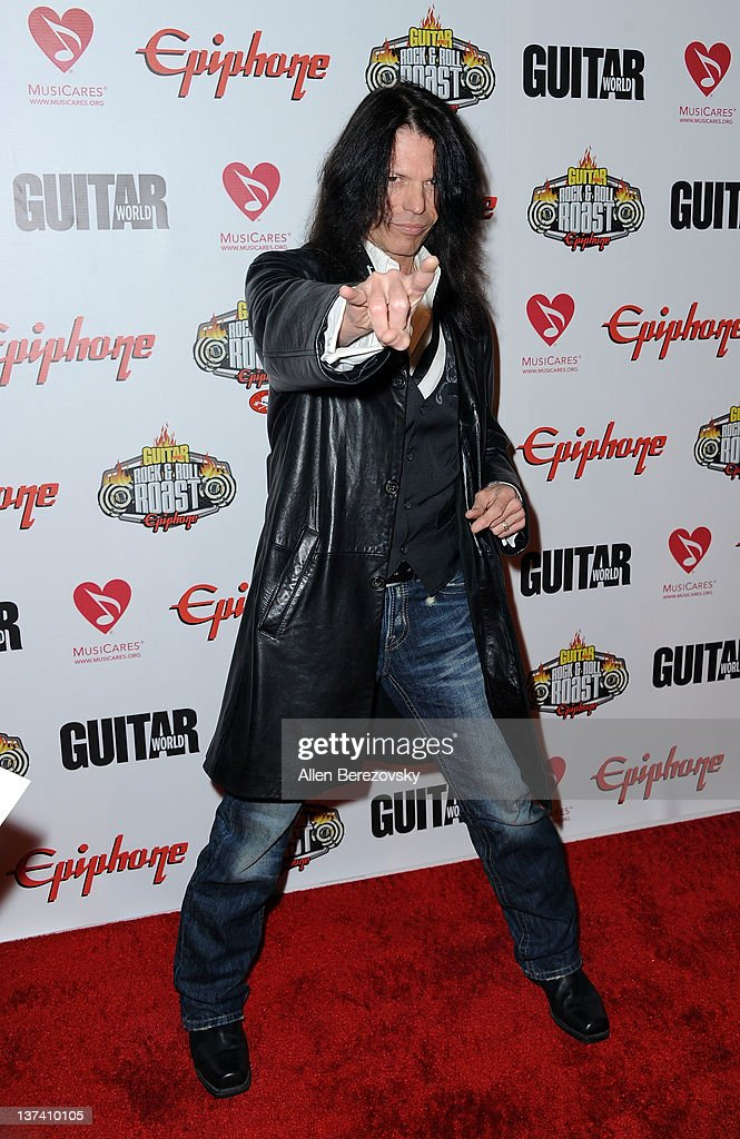 Recording Artist Rudy Sarzo arrives at the Guitar World's Rock & Roll roast of Zakk Wylde at City National Grove of Anaheim on January 19, 2012 in Anaheim, California.