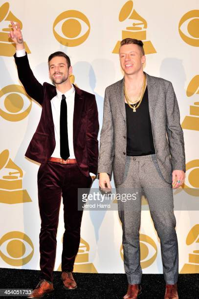 Recording artist Ryan Lewis and recording artist Macklemore pose in the press room during The GRAMMY Nominations Concert Live Countdown to Music's...