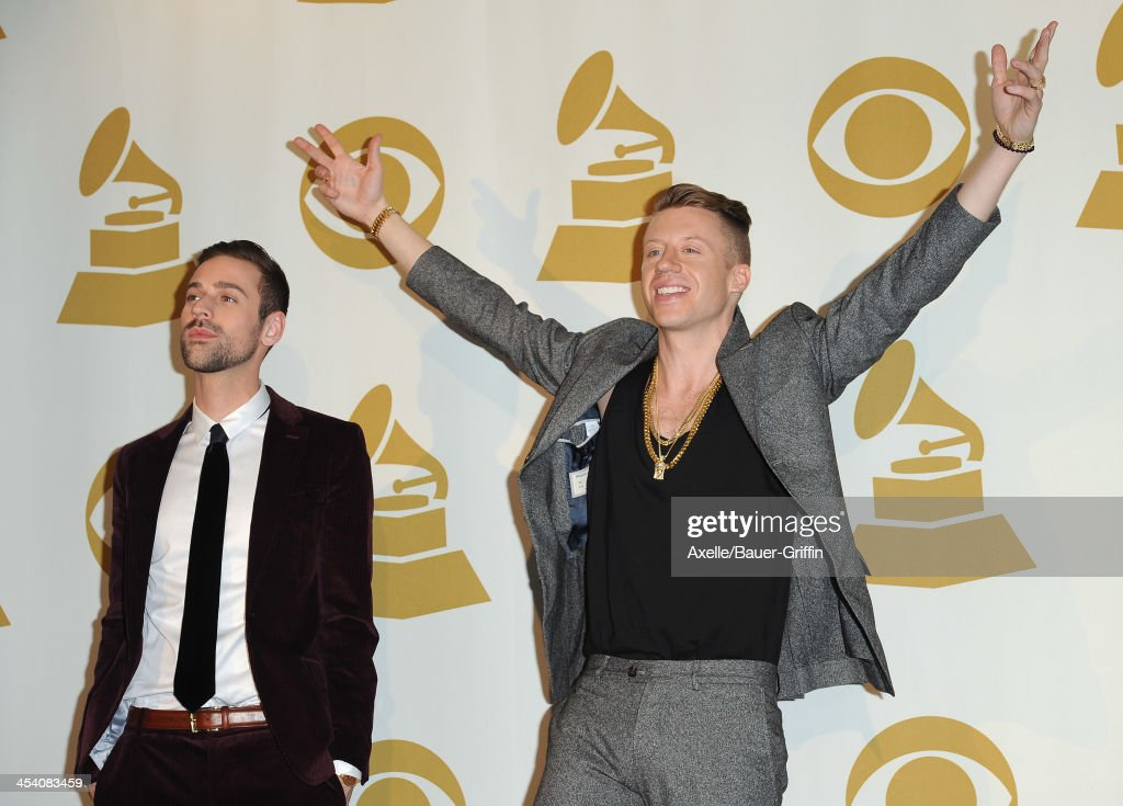 Recording artist Ryan Lewis (L) and recording artist <a gi-track='captionPersonalityLinkClicked' href=/galleries/search?phrase=Macklemore&family=editorial&specificpeople=7639427 ng-click='$event.stopPropagation()'>Macklemore</a> pose in the press room at The GRAMMY Nominations Concert Live! Countdown To Music's Biggest Night at Nokia Theatre L.A. Live on December 6, 2013 in Los Angeles, California.