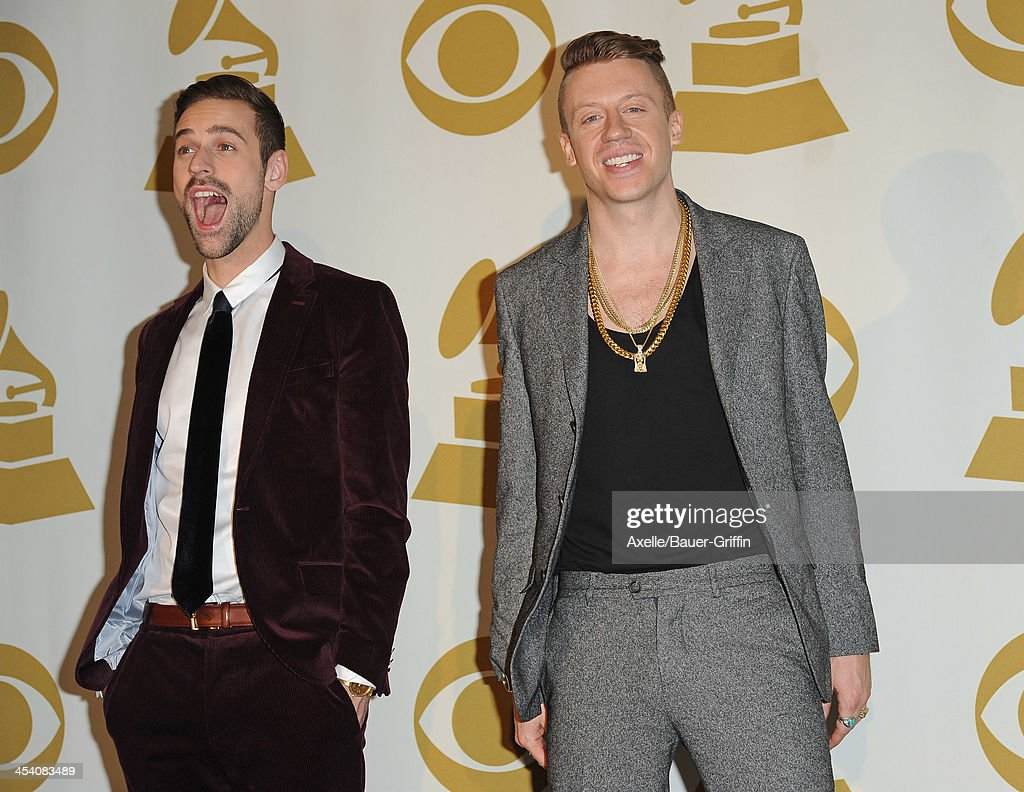 Recording artist Ryan Lewis (L) and recording artist Macklemore pose in the press room at The GRAMMY Nominations Concert Live! Countdown To Music's Biggest Night at Nokia Theatre L.A. Live on December 6, 2013 in Los Angeles, California.