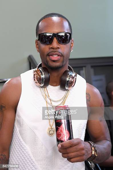 Recording artist Safaree Samuels enjoys an AMP beverage during Next Level Presented By AMP Energy A Hip Hop Gaming Tournament at Rostrum Records on...
