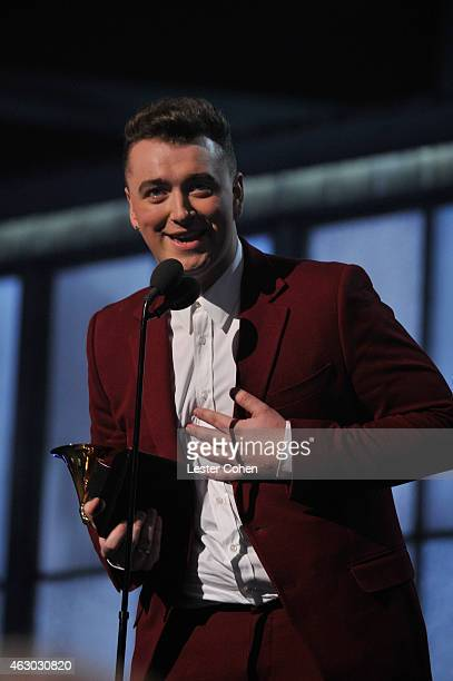Recording artist Sam Smith accepts the Best Pop Vocal Album award for 'In The Lonely Hour' onstage during The 57th Annual GRAMMY Awards at the...