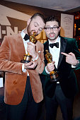 Recording artist Sam Smith and songwriter Jimmy Napes attend the 2016 Vanity Fair Oscar Party Hosted By Graydon Carter at the Wallis Annenberg Center...