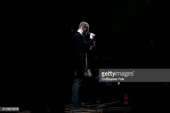 Recording artist Sam Smith performs onstage at the 88th Annual Academy Awards at Hollywood Highland Center on February 27 2016 in Hollywood California