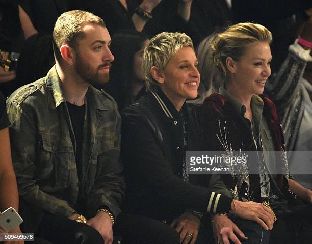 Recording artist Sam Smith tv personality Ellen DeGeneres and actress Portia de Rossi in Saint Laurent by Hedi Slimane attend Saint Laurent at the...