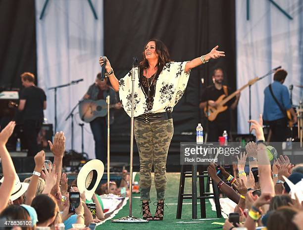 Recording Artist Sara Evans performs during the 20th Anniversaty of Kicker Country Stampede Manhattan Kansas Day 3 on June 27 2015 at Tuttle Creek...