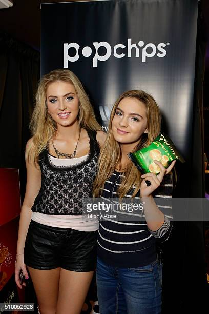 Recording Artist Saxon Sharbino and Brighton Sharbino attend popchips and Westwood One's Backstage at The GRAMMYS at Staples Center on February 12...