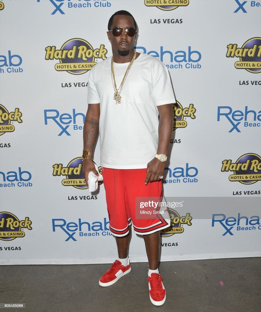 Recording artist Sean 'Puff Daddy' Combs arrives at the Rehab Beach Club pool party at the Hard Rock Hotel & Casino on July 1, 2017 in Las Vegas, Nevada.