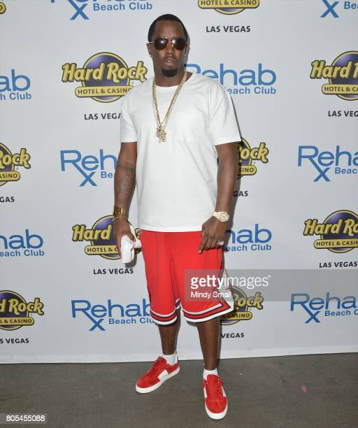 Recording artist Sean 'Puff Daddy' Combs arrives at the Rehab Beach Club pool party at the Hard Rock Hotel Casino on July 1 2017 in Las Vegas Nevada
