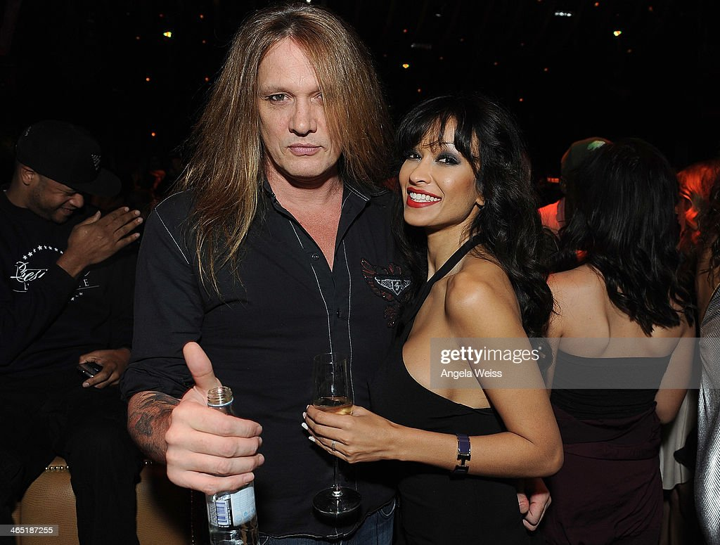 Recording artist Sebastian Bach and guest attend the 1 OAK LA Grand Opening Weekend hosted by Jay Z and presented by D'usse on January 25, 2014 in Los Angeles, California.