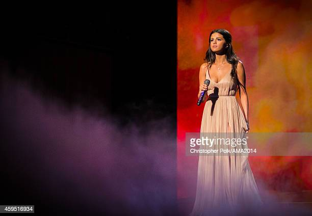 Recording artist Selena Gomez performs onstage at the 2014 American Music Awards at Nokia Theatre LA Live on November 23 2014 in Los Angeles...