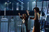 Recording artist Selena Gomez winner of the 'Biggest Triple Threat' award onstage at the iHeartRadio Music Awards which broadcasted live on TBS TNT...