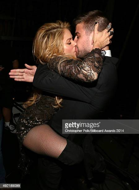 Recording artist Shakira and professional soccer player Gerard Piqué attend the 2014 Billboard Music Awards at the MGM Grand Garden Arena on May 18...