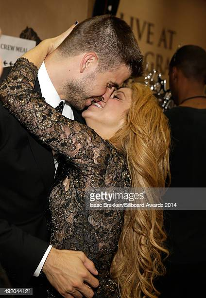 Recording artist Shakira and soccer player Gerard Pique attend the 2014 Billboard Music Awards at the MGM Grand Garden Arena on May 18 2014 in Las...