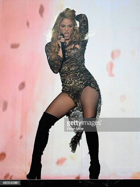 Recording artist Shakira performs onstage during the 2014 Billboard Music Awards at the MGM Grand Garden Arena on May 18 2014 in Las Vegas Nevada
