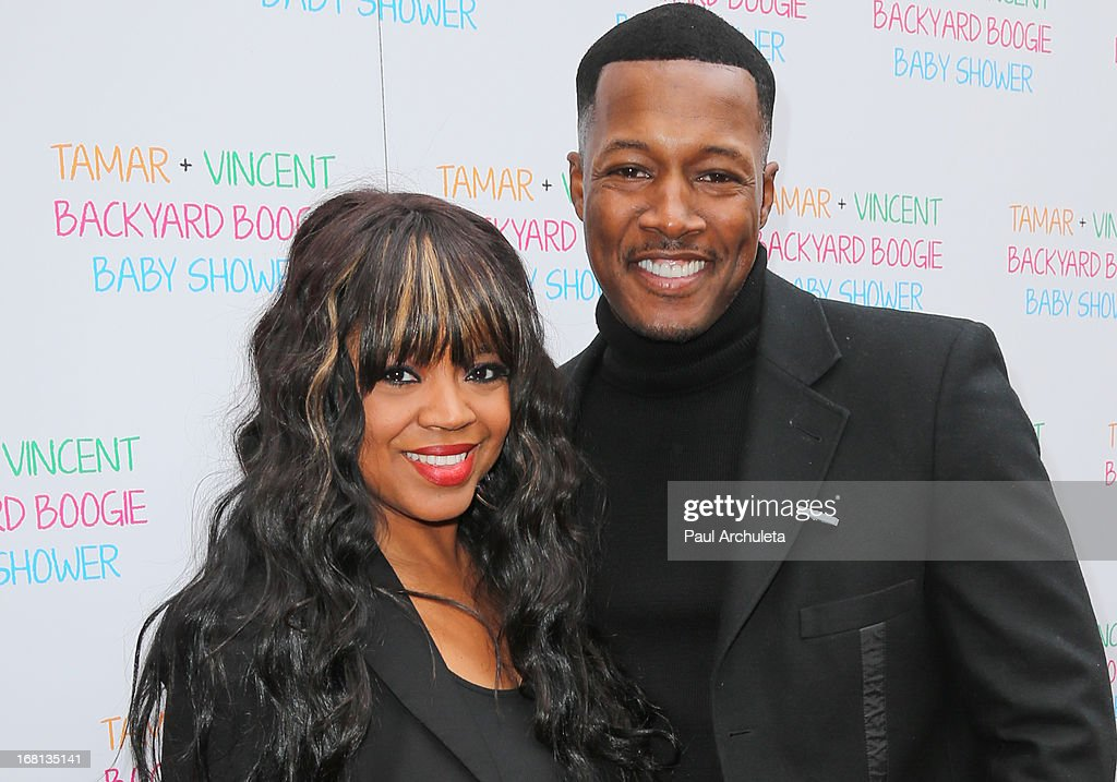 Recording Artist <a gi-track='captionPersonalityLinkClicked' href=/galleries/search?phrase=Shanice&family=editorial&specificpeople=846714 ng-click='$event.stopPropagation()'>Shanice</a> (L) and Actor Flex Alexander (R) attend Tamar Braxton's carnival themed baby shower at the Hotel Bel-Air on May 5, 2013 in Los Angeles, California.
