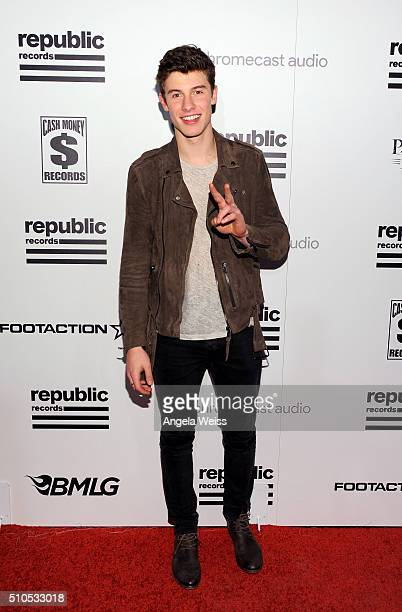 Recording artist Shawn Mendes attends the Republic Records Grammy Celebration presented by Chromecast Audio at Hyde Sunset Kitchen Cocktail on...