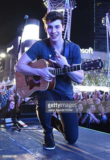 Recording artist Shawn Mendes performs onstage at 1027 KIIS FM's Jingle Ball Village at KIIS FM's Jingle Ball 2015 Presented by Capital One preshow...