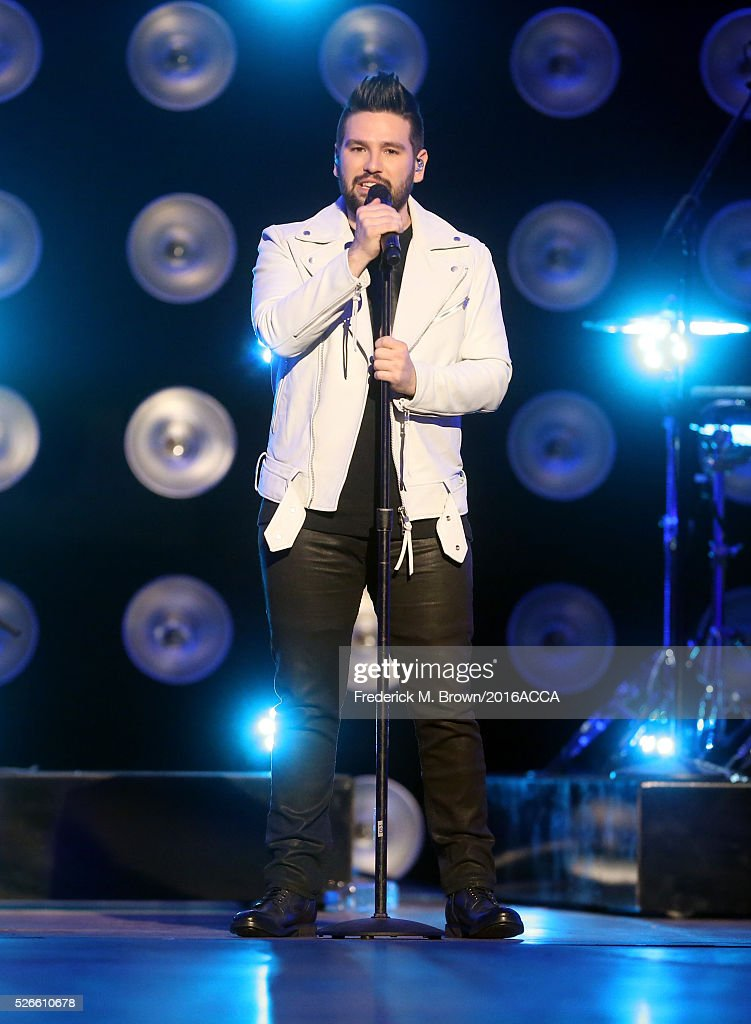 Recording artist <a gi-track='captionPersonalityLinkClicked' href=/galleries/search?phrase=Shay+Mooney&family=editorial&specificpeople=9164587 ng-click='$event.stopPropagation()'>Shay Mooney</a> of Dan + Shay performs onstage during rehearsals for the 2016 American Country Countdown Awards at The Forum on April 30, 2016 in Inglewood, California.