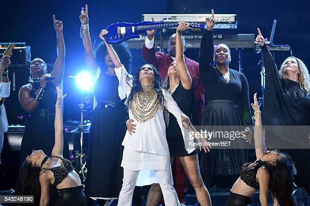 Recording artist Sheila E performs onstage during the 2016 BET Awards at the Microsoft Theater on June 26 2016 in Los Angeles California
