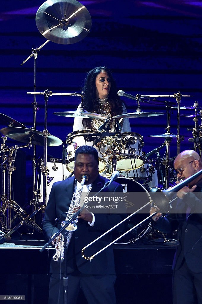 Recording artist <a gi-track='captionPersonalityLinkClicked' href=/galleries/search?phrase=Sheila+E.&family=editorial&specificpeople=242934 ng-click='$event.stopPropagation()'>Sheila E.</a> performs onstage during the 2016 BET Awards at the Microsoft Theater on June 26, 2016 in Los Angeles, California.