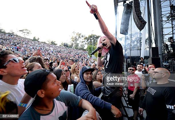 Recording artist Shirley Manson of music group Garbage performs among festivalogers in the pit area at KROQ Weenie Roast 2016 at Irvine Meadows...