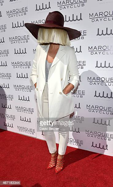 Recording artist Sia arrives at the Marquee Dayclub's season preview at The Cosmopolitan of Las Vegas on March 21 2015 in Las Vegas Nevada