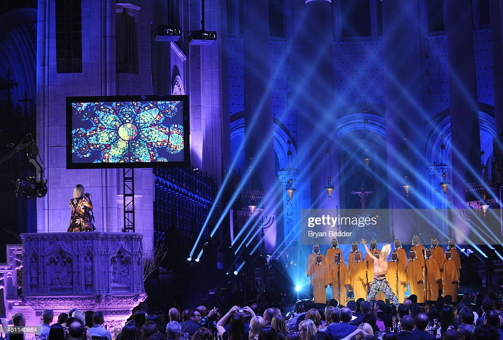 Recording artist Sia performs onstage with the NYC Gay Men's Chorus and choreographer Ryan Heffington during Logo TV's 'Trailblazers' at the Cathedral of St. John the Divine on June 23, 2014 in New York City.