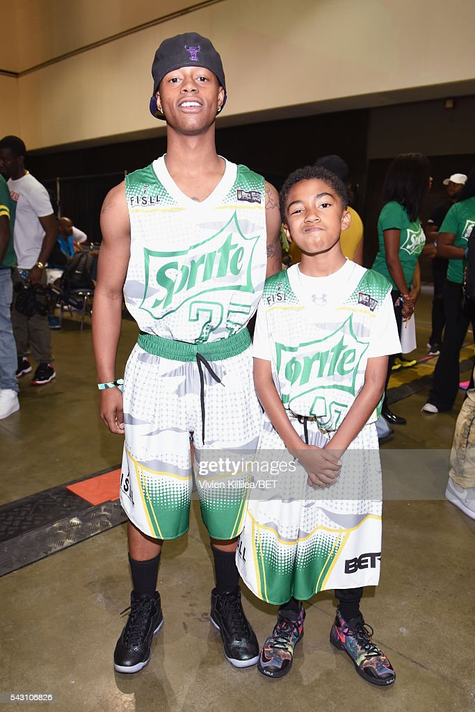 Recording artist Silento (L) and actor <a gi-track='captionPersonalityLinkClicked' href=/galleries/search?phrase=Miles+Brown&family=editorial&specificpeople=6931307 ng-click='$event.stopPropagation()'>Miles Brown</a> pose in the green room at the celebrity basketball game during the 2016 BET Experience at the JW Marriott Los Angeles L.A. Live on June 25, 2016 in Los Angeles, California.