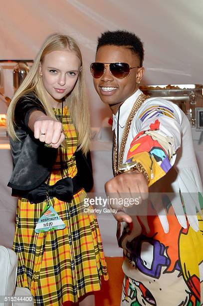 Recording artist Silento and actress Lizzy Greene attend Nickelodeon's 2016 Kids' Choice Awards at The Forum on March 12 2016 in Inglewood California