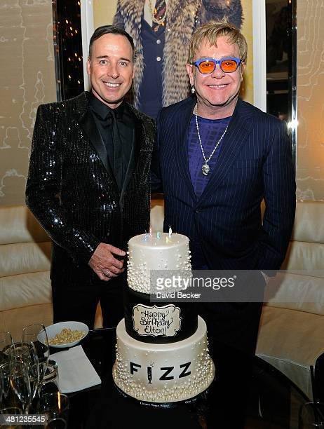 Recording artist Sir Elton John and his partner FIZZ Las Vegas creative director David Furnish celebrate John's birthday at the grand opening of FIZZ...