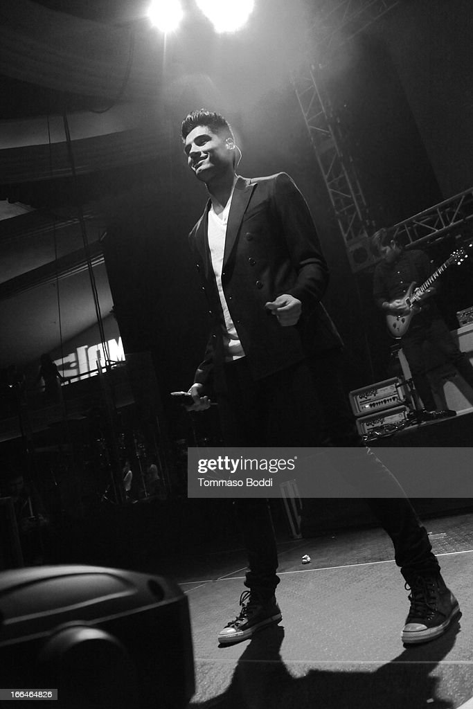 Recording artist <a gi-track='captionPersonalityLinkClicked' href=/galleries/search?phrase=Siva+Kaneswaran&family=editorial&specificpeople=7039810 ng-click='$event.stopPropagation()'>Siva Kaneswaran</a> of The Wanted performs at the 97.1 Amplify 2013 Concert held at The Hollywood Palladium on April 12, 2013 in Los Angeles, California.