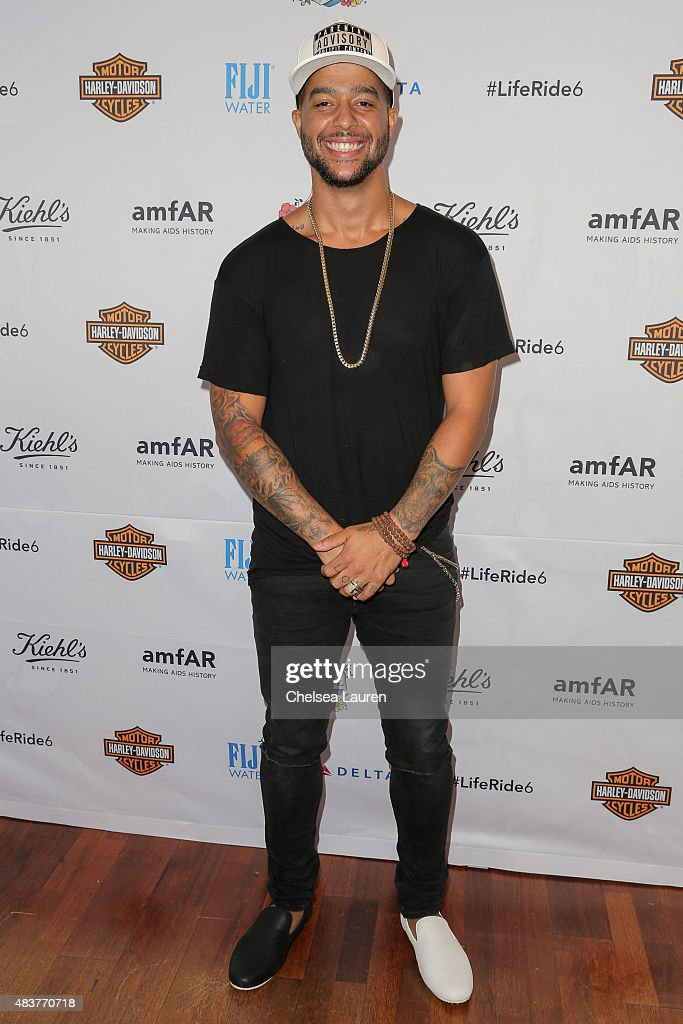 Recording artist Sky Blu of LMFAO arrives at the 6th annual Kiehl's LifeRide for amfAR celebration at Kiehl's Since 1851 on August 12 2015 in Santa...