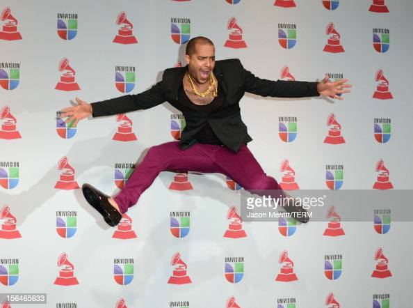 Recording artist Skyblu of LMFAO poses in the press room during the 13th annual Latin GRAMMY Awards held at the Mandalay Bay Events Center on...