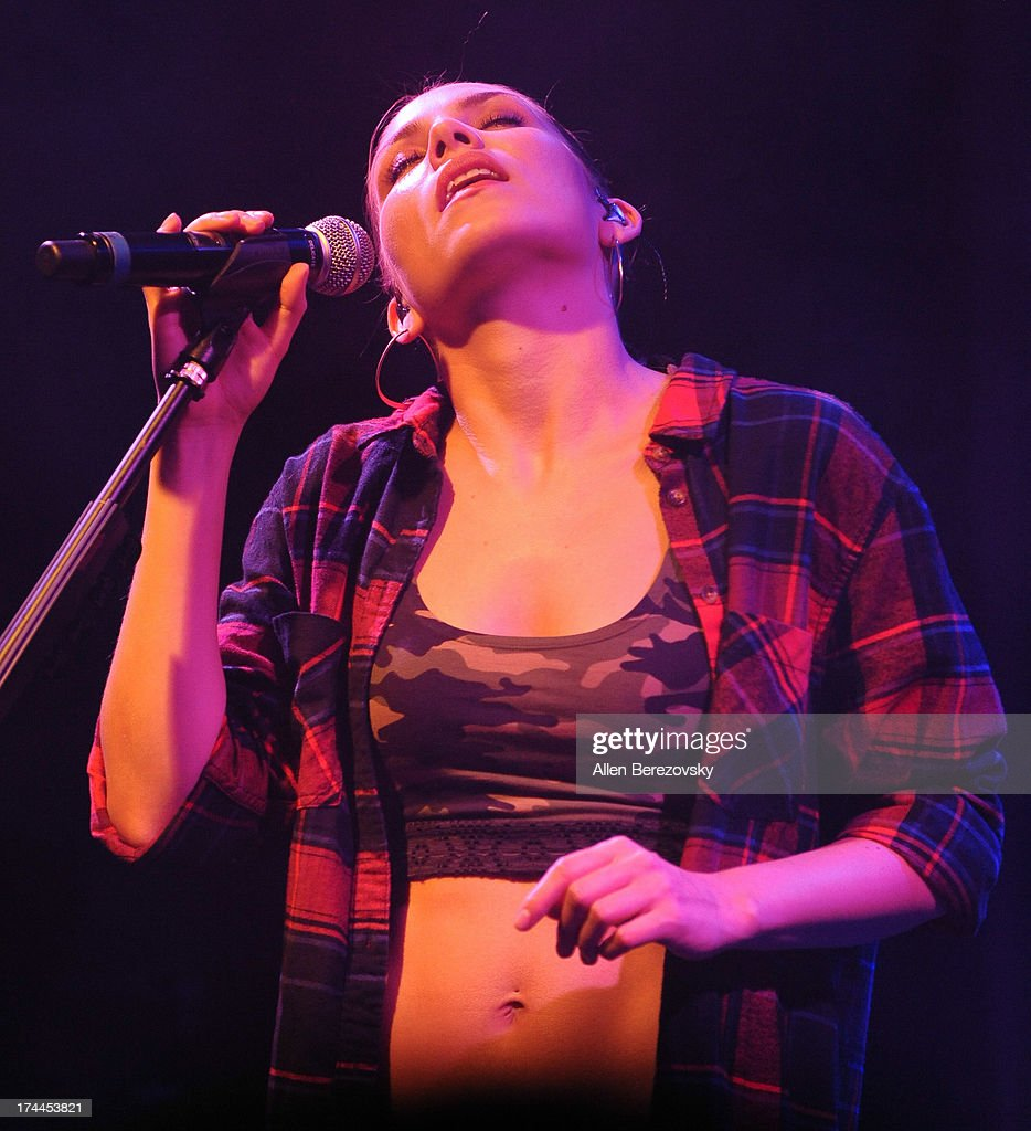 Recording artist <a gi-track='captionPersonalityLinkClicked' href=/galleries/search?phrase=Skylar+Grey+-+Singer&family=editorial&specificpeople=4349722 ng-click='$event.stopPropagation()'>Skylar Grey</a> performs on stage during her 'Don't Look Down' Summer 2013 Tour at Bootleg Theater on July 25, 2013 in Los Angeles, California.