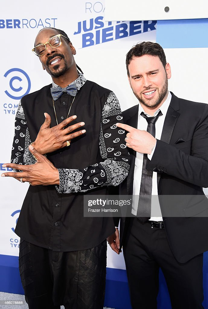 Recording artist Snoop Dogg and talent manager Scooter Braun attend The Comedy Central Roast of Justin Bieber at Sony Pictures Studios on March 14...