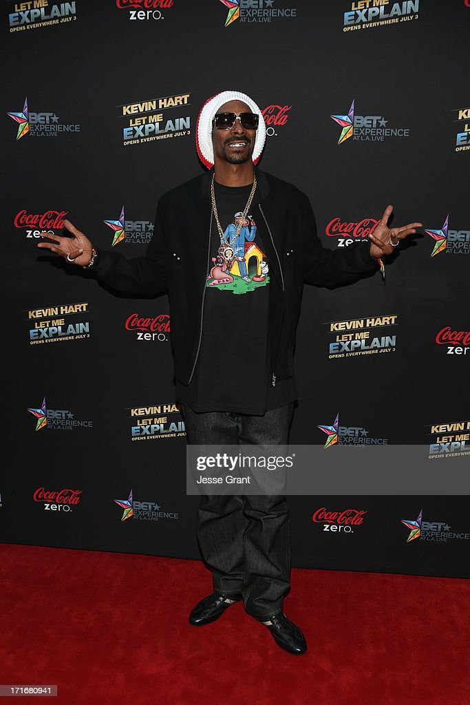 Recording Artist Snoop Dogg attends Movie Premiere 'Let Me Explain' with Kevin Hart during the 2013 BET Experience at Regal Cinemas LA Live on June...